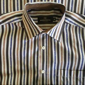 Bugatchi Uomo Black-Blue-Brown Striped Button Down